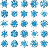 Set of 25 a six-rays crystal gradient snowflakes. Vector illustration on white background Stock Photos