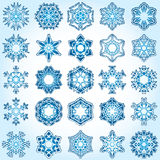 Set of 25 a six-rays crystal gradient snowflakes. Vector illustration on light blue background Royalty Free Stock Images