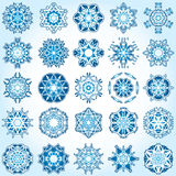 Set of 25 a six-rays crystal gradient snowflakes. Vector illustration on light blue background Stock Photos