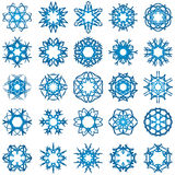 Set of 25 a six-rays crystal gradient snowflakes. Vector illustration on white background Royalty Free Stock Photo