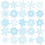 Set of 25 snowflakes. Vector set of 25 snowflakes Royalty Free Stock Photo