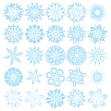 Set of 25 snowflakes. Vector Royalty Free Stock Image