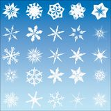 Set of 25 vector snow flakes Stock Image