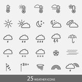 Set of 25 weather icons with stroke. Simple grey i Stock Photos