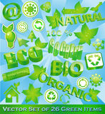 Set of 26 Eco-Friendly Items. This file is available both as jpeg and vector. The vector file is easy to edit with objects clearly grouped separately Stock Photos