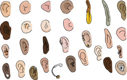 Set of 29 Ears. 29 diverse human and fantasy ears with pierced and hearing aid versions Royalty Free Stock Image