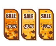 Set of 3 autumn sale tags Royalty Free Stock Images