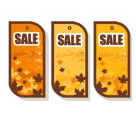 Set of 3 autumn sale tags Royalty Free Stock Image