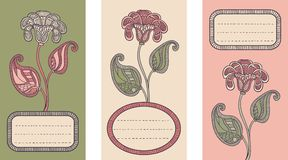 Set of 3 Cards with floral design. Stock Photography