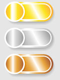 Set 3 of circle and cylinder labels. Set 3 of circle with shadow over cylinder label or sticker with shadows, metallic gold, silver and bronze, ready for your Stock Image