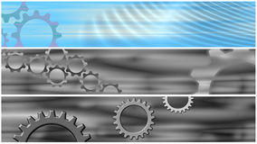 Set 3 Cogs Header Banners Royalty Free Stock Photos