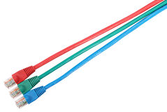 Set of 3 colored patch cord with connector RJ45 Stock Photography