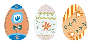 Set of 3 easter eggs (3) Royalty Free Stock Photo