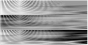 Set 3 Energetic Field BW Banne. Set 3 banners with energetic field waves in BW setting, suitable for website headers and so on stock illustration