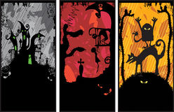 Set of 3 Halloween Banners Stock Photography