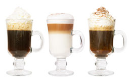 Set of 3 irish coffee Stock Images