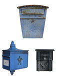 Set of 3 mailboxes with clipping paths Royalty Free Stock Photos