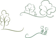 Set of 3 nature icons. Set of 4 simple green-colored line-art nature icons including flowers and trees Royalty Free Stock Photo