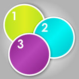 Set 3 of numbered round stickers. Set 3 of colorful round label or stickers in bright colors with 1,2,3, numbers in white, over light grey gradient background Stock Photo