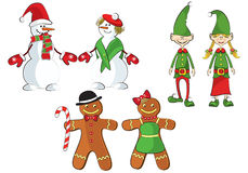 A set of 3 pairs of snowmen, elves, gingermen Stock Photos