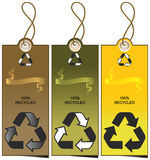 Set of 3 sale tags with recycling illustration Stock Image
