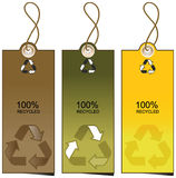 Set of 3 sale tags with recycling illustration Royalty Free Stock Photos