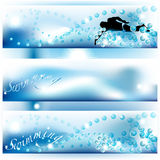 Set of 3 swimming banners with shades of blue Royalty Free Stock Photos