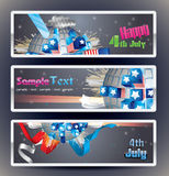 Set of 3 vector bookmark banners. Exploding Sphere with American symbols stock illustration