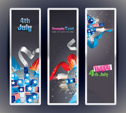 Set of 3 vector bookmark banners. Exploding Sphere with American symbols vector illustration