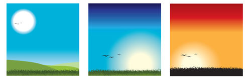 Set of 3 vector landscapes Stock Image