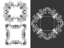 Set of 3 vintage decorative frames. Pattern brushes Royalty Free Stock Photography
