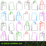 Set of 30 shopping bags. Vector illustration. EPS icluded Stock Photos