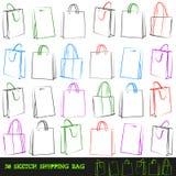 Set of 30 shopping bags. Stock Photos