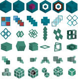 Set of 36 Cube and square Pieces for Logo. An illustrated set of 36 pieces of cubes and squares that can be used for logo or clip art Royalty Free Stock Photo