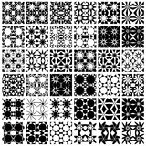 Set of 36 monochrome patterns. Set of 36 monochrome geometric seamless patterns. Vector backgrounds collection Stock Image