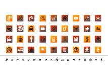 Set of 36 various orange theme vector buttons. Set of 36 various orange theme  buttons, icons Stock Photo