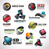 Set of 3d abstract icons. Set of 3d abstract vector icons Royalty Free Stock Images