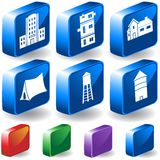 Set of 3D Building Icons. Set of 6 3D Building/Structure Icons in different colors Stock Images