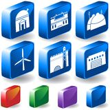 Set of 3D Building Icons. Set of 6 3D Building/Structure Icons in different colors Stock Photography