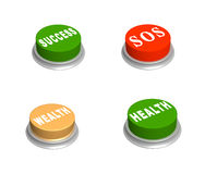 Set 3d buttons - success, wealth, SOS, health. Objects over white Stock Photo