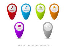 Set of 3D color pointers Stock Photos
