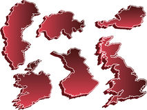 Set of 3D Country Maps. United Kingdom, Sweden, Switzerland, Ireland, Finland, and Austria Royalty Free Stock Photo
