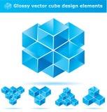 Set of 3d cube designs. Blue 3d cube design for your business artwork stock illustration