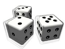 Set of 3d dice or die. 3d illustration of set of white dice or die with studio background Royalty Free Stock Images