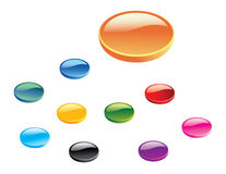 Set of 3D Glossy Web Buttons. Vector Stock Photo