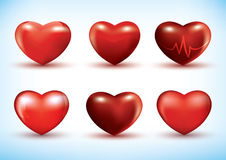 Set of 3d hearts Royalty Free Stock Photography