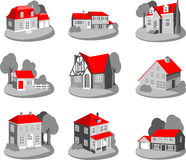 Set of 3d houses Royalty Free Stock Photos