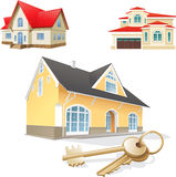 Set of 3d houses Royalty Free Stock Images