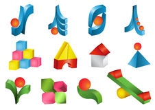 Set of  3d icons. Set of  colorful 3d icons Royalty Free Stock Photo