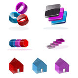 Set of 3d icons. A set of various three-dimensional icons isolated on white Royalty Free Stock Photography